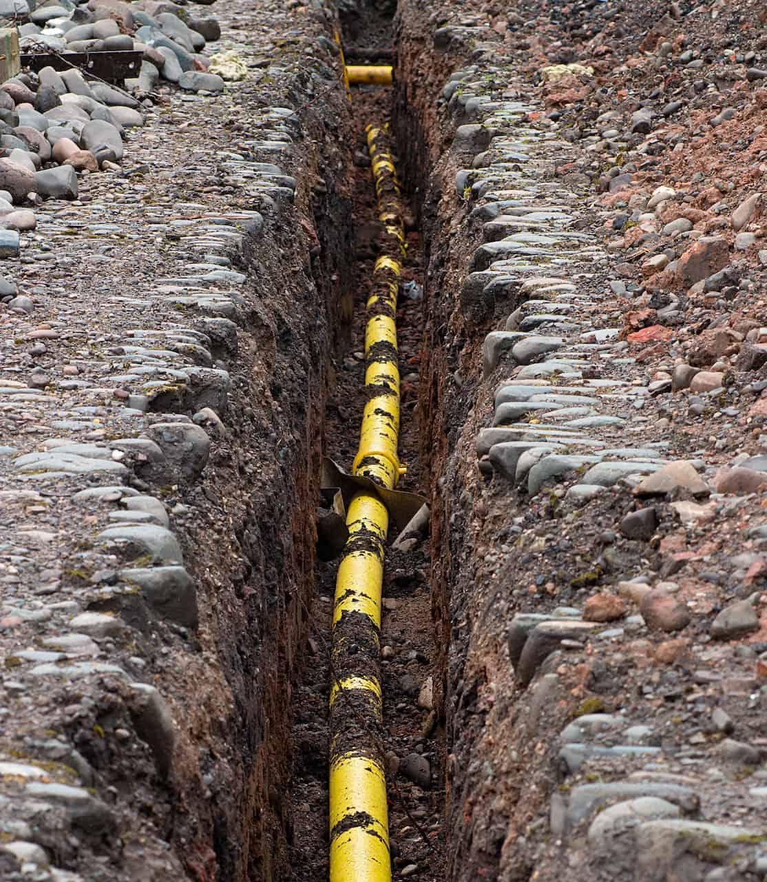 Yellow Gas Plex Pipe Underground