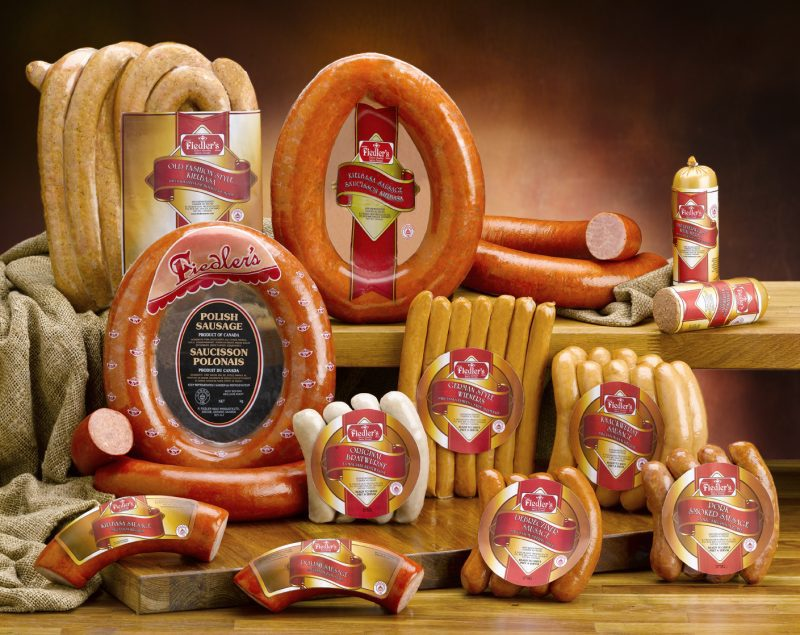 Assorted meat products on display